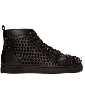 Christian Louboutin All Black Men's Spike Sneakers